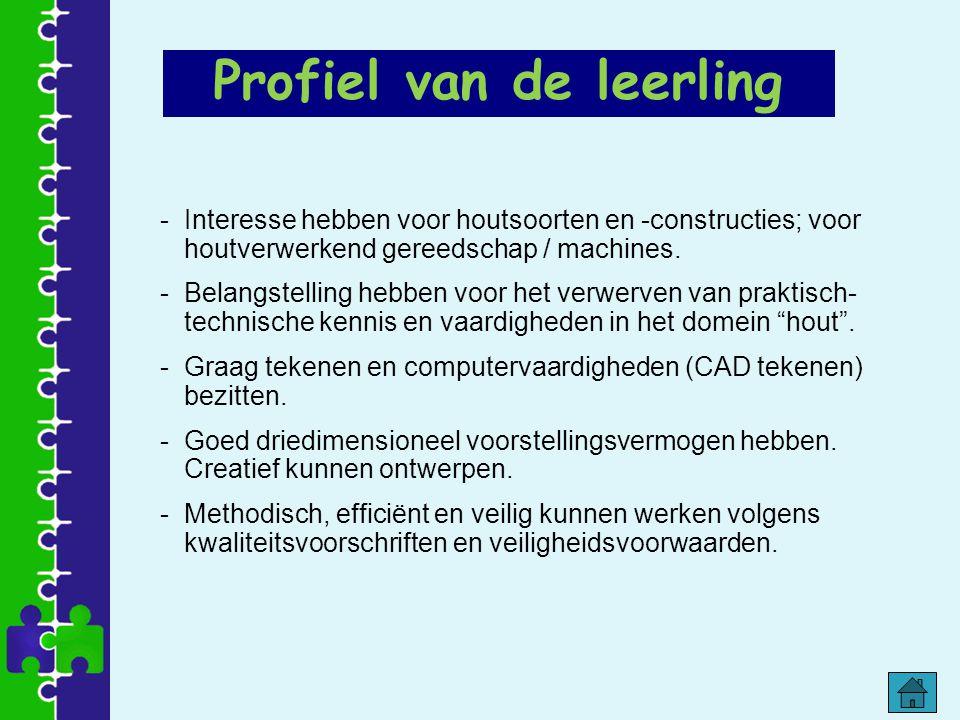 Profiel van de leerling -Interesse hebben voor houtsoorten en -constructies; voor houtverwerkend gereedschap / machines. -Belangstelling hebben voor h