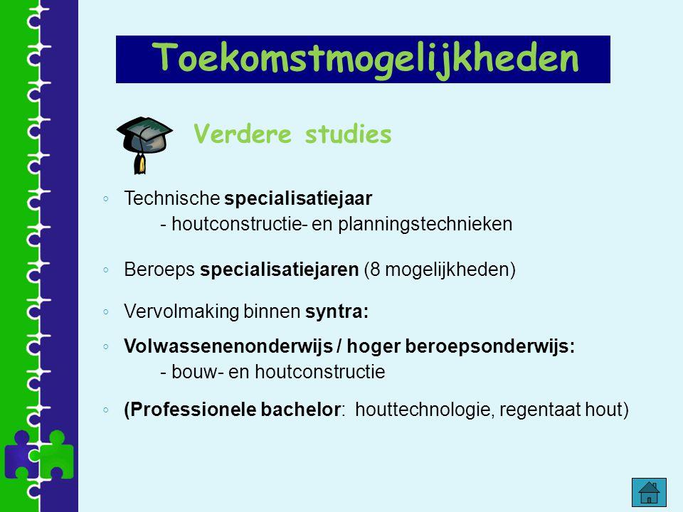 Verdere studies ◦ Technische specialisatiejaar - houtconstructie- en planningstechnieken ◦ Beroeps specialisatiejaren (8 mogelijkheden) ◦ Vervolmaking