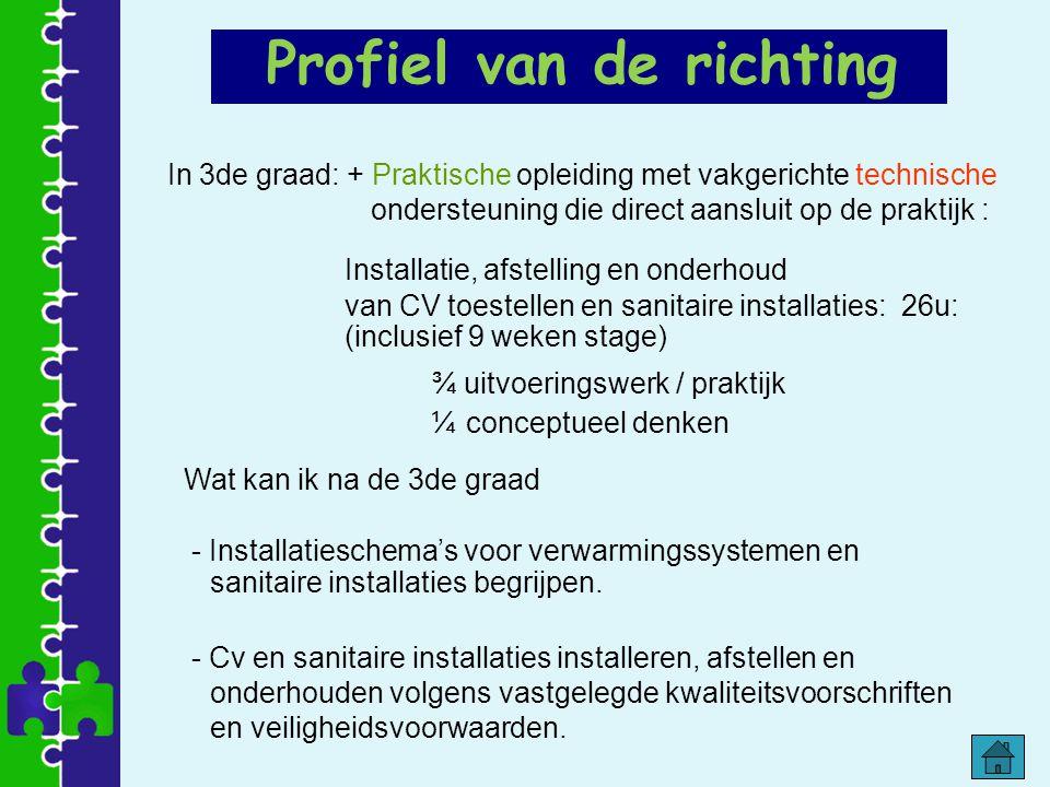 Profiel van de richting In 3de graad: + Praktische opleiding met vakgerichte technische ondersteuning die direct aansluit op de praktijk : Installatie