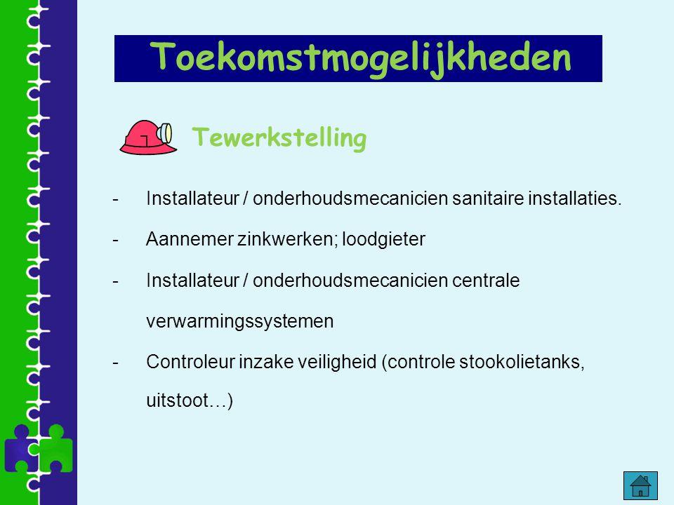 Tewerkstelling -Installateur / onderhoudsmecanicien sanitaire installaties. -Aannemer zinkwerken; loodgieter -Installateur / onderhoudsmecanicien cent