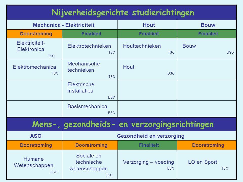 Nijverheidsgerichte studierichtingen Mechanica - ElektriciteitHoutBouw DoorstromingFinaliteit Elektriciteit- Elektronica TSO Elektrotechnieken TSO Hou