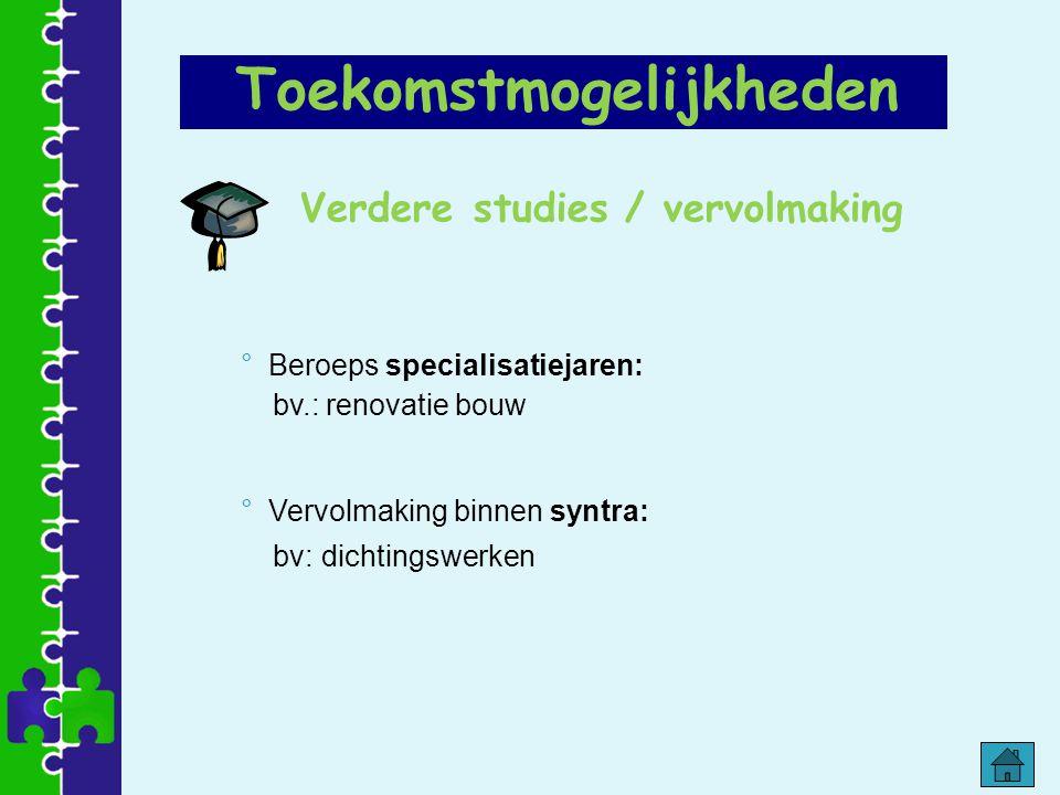 Verdere studies / vervolmaking ° Beroeps specialisatiejaren: bv.: renovatie bouw ° Vervolmaking binnen syntra: bv: dichtingswerken Toekomstmogelijkhed