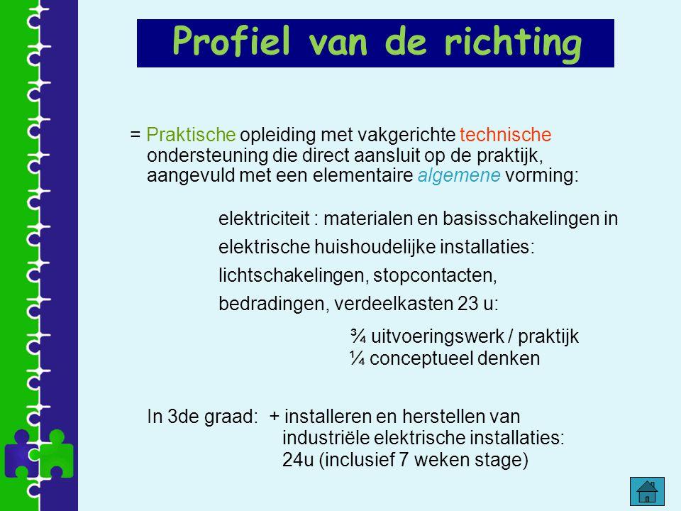 Profiel van de richting = Praktische opleiding met vakgerichte technische ondersteuning die direct aansluit op de praktijk, aangevuld met een elementa