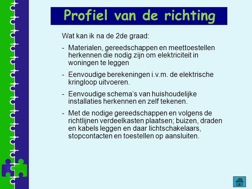 Profiel van de richting Wat kan ik na de 2de graad: -Materialen, gereedschappen en meettoestellen herkennen die nodig zijn om elektriciteit in woninge