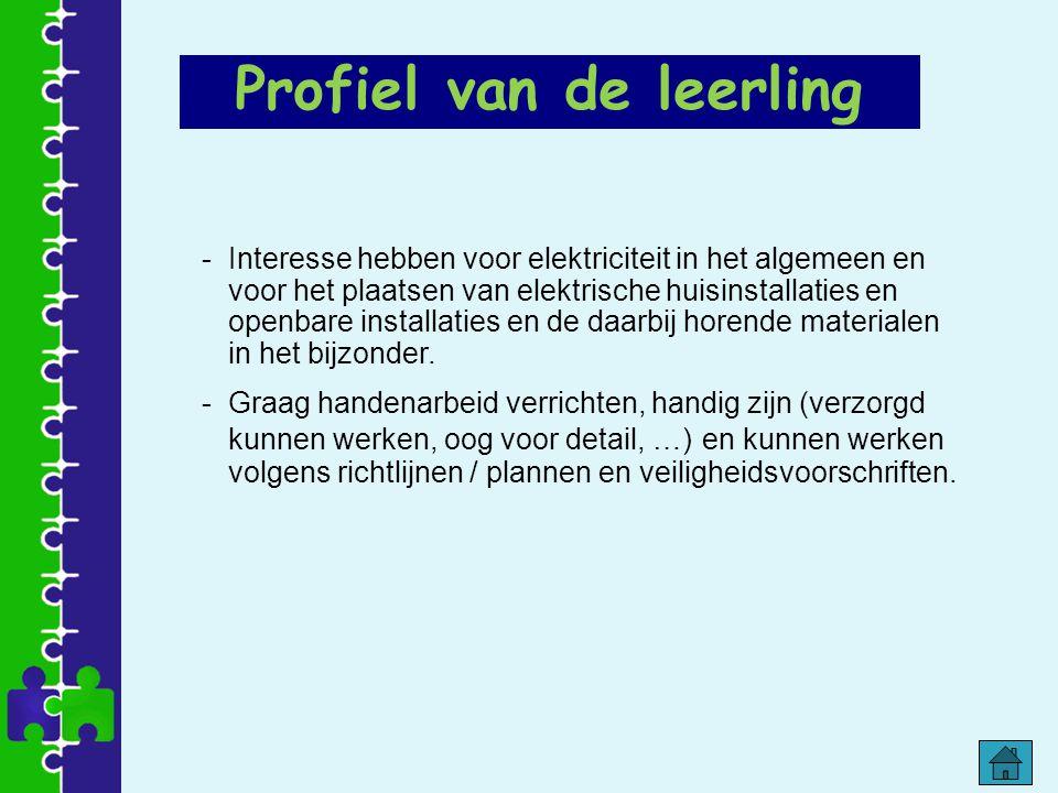 Profiel van de leerling -Interesse hebben voor elektriciteit in het algemeen en voor het plaatsen van elektrische huisinstallaties en openbare install