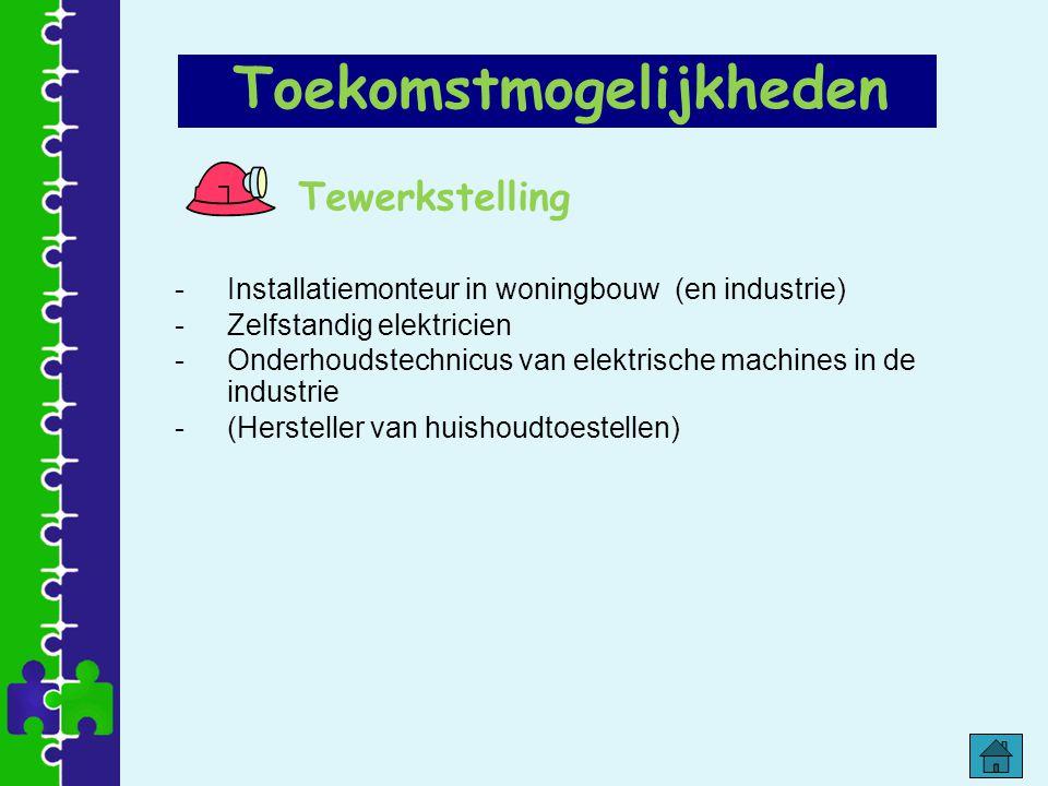 Tewerkstelling -Installatiemonteur in woningbouw (en industrie) -Zelfstandig elektricien -Onderhoudstechnicus van elektrische machines in de industrie