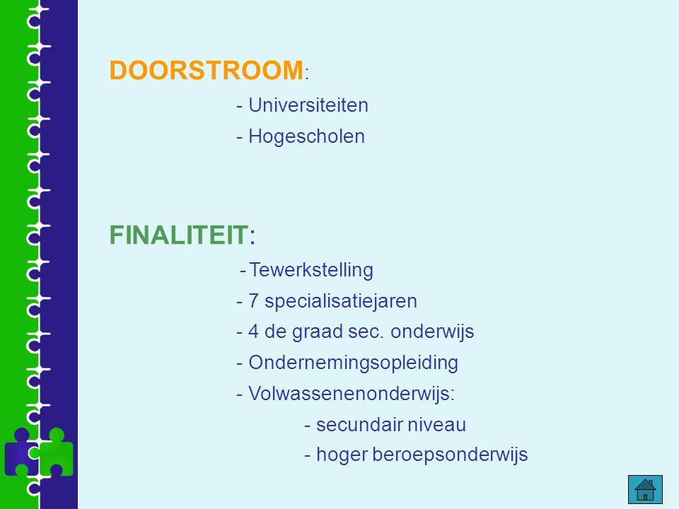 DOORSTROOM : - Universiteiten - Hogescholen FINALITEIT: - Tewerkstelling - 7 specialisatiejaren - 4 de graad sec. onderwijs - Ondernemingsopleiding -