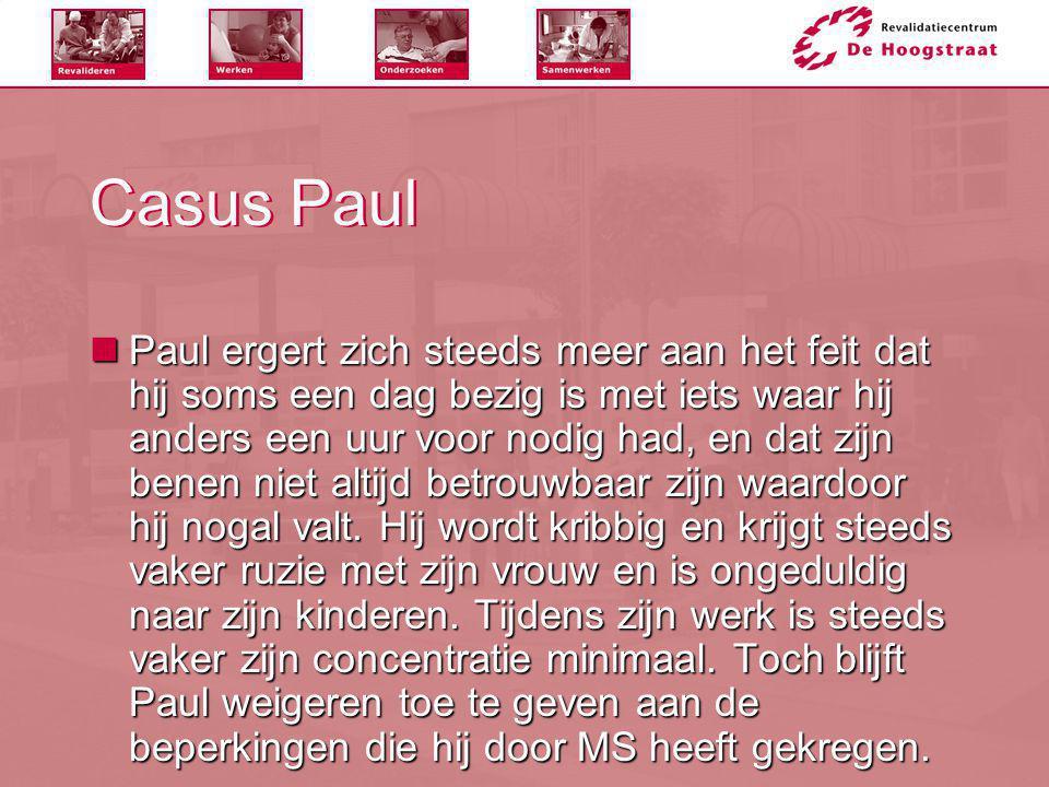 Casus Paul  Paul ergert zich steeds meer aan het feit dat hij soms een dag bezig is met iets waar hij anders een uur voor nodig had, en dat zijn bene