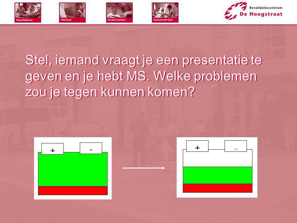 Stel, iemand vraagt je een presentatie te geven en je hebt MS. Welke problemen zou je tegen kunnen komen?