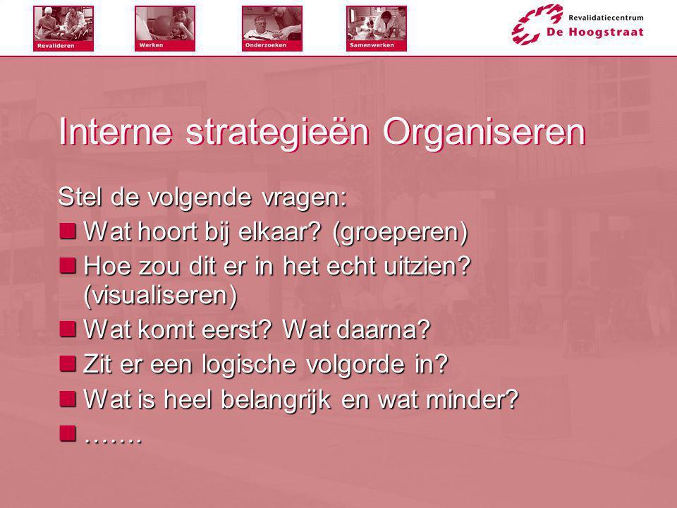 Interne strategieën Organiseren Stel de volgende vragen:  Wat hoort bij elkaar? (groeperen)  Hoe zou dit er in het echt uitzien? (visualiseren)  Wa