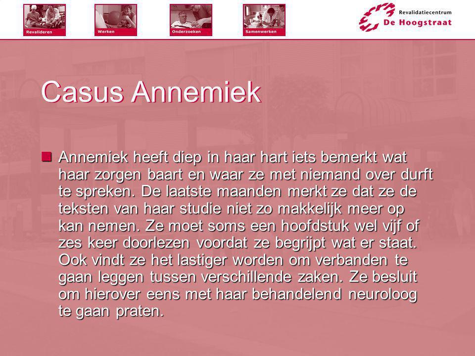 Casus Annemiek  Annemiek heeft diep in haar hart iets bemerkt wat haar zorgen baart en waar ze met niemand over durft te spreken. De laatste maanden