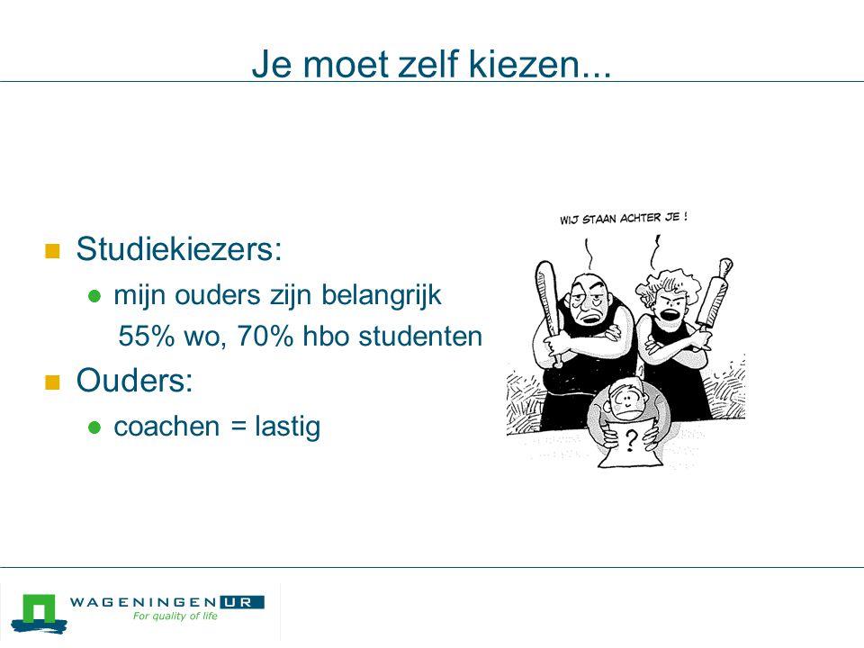 Wageningen University  Tweederde 1e jaars: info via mond-tot-mond  Decanen, docenten, ouders, vrienden  Faciliteren / informeren  Hoe optimaal?