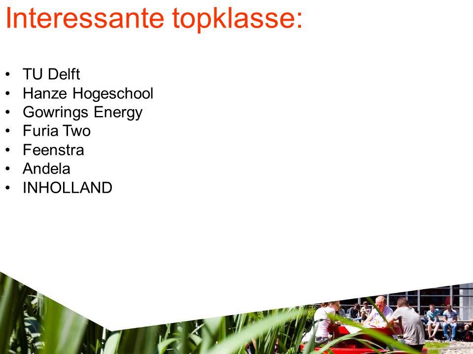 Interessante topklasse: •TU Delft •Hanze Hogeschool •Gowrings Energy •Furia Two •Feenstra •Andela •INHOLLAND