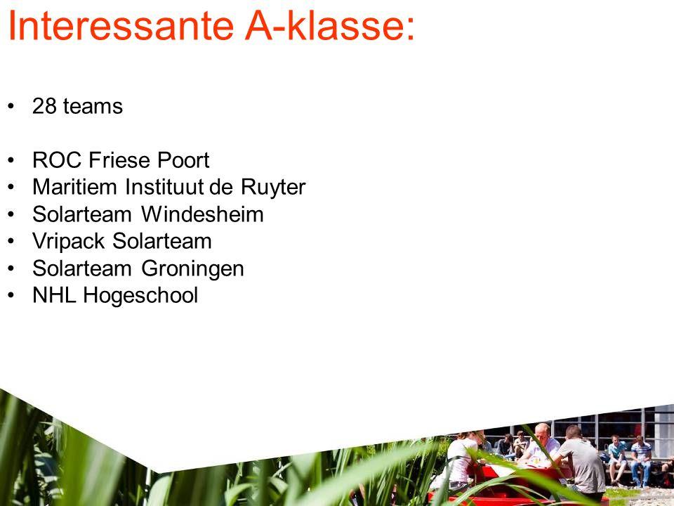 Interessante A-klasse: •28 teams •ROC Friese Poort •Maritiem Instituut de Ruyter •Solarteam Windesheim •Vripack Solarteam •Solarteam Groningen •NHL Hogeschool