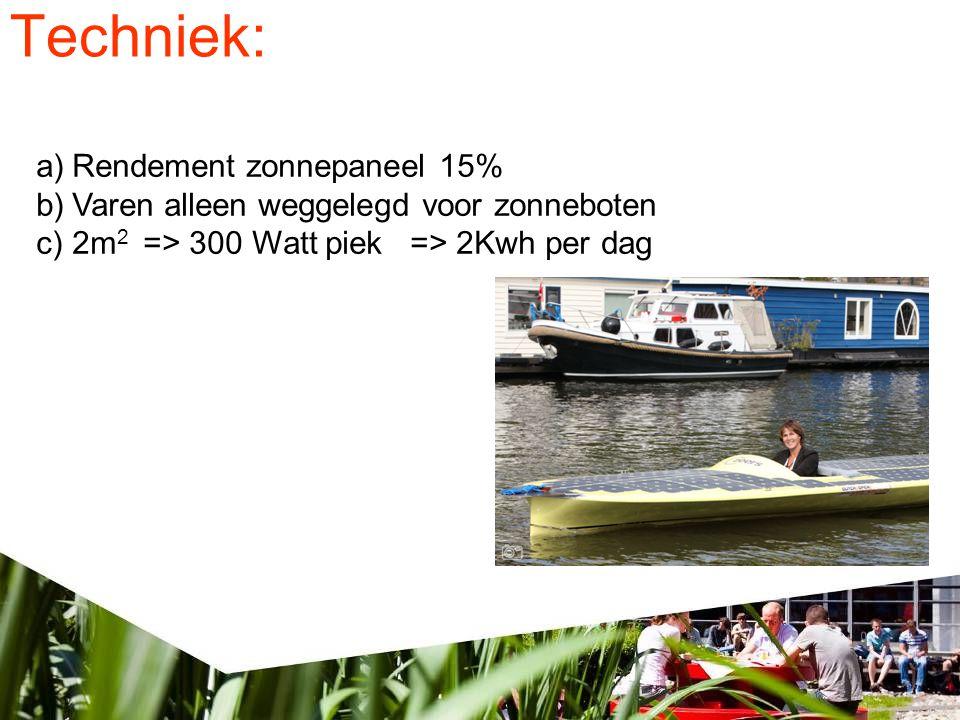 Techniek: a)Rendement zonnepaneel 15% b)Varen alleen weggelegd voor zonneboten c)2m 2 => 300 Watt piek => 2Kwh per dag