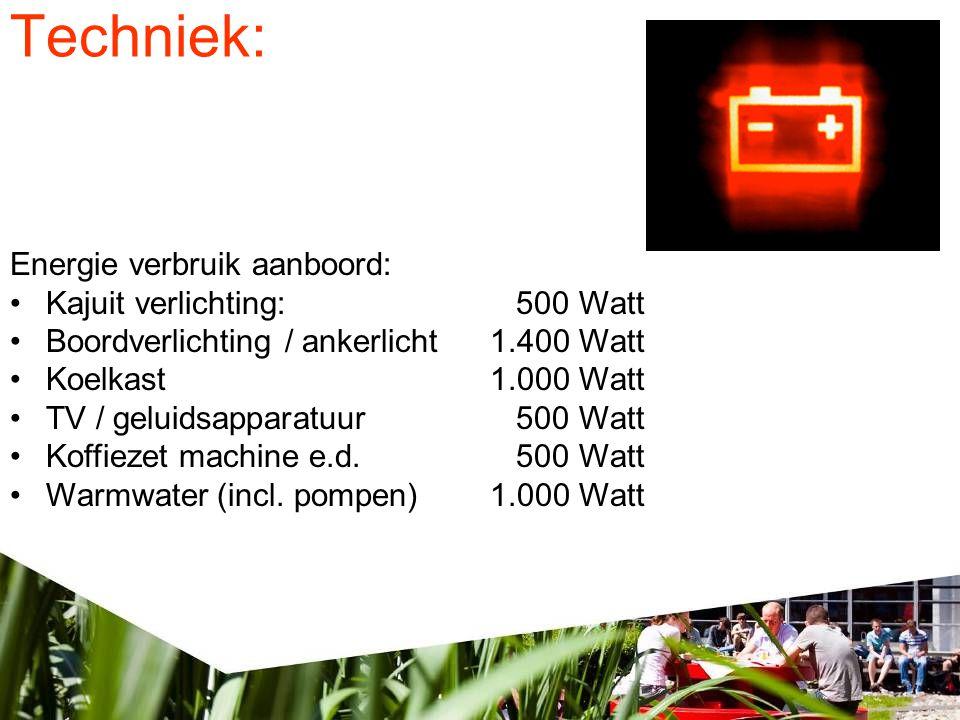 Techniek: Energie verbruik aanboord: •Kajuit verlichting: 500 Watt •Boordverlichting / ankerlicht1.400 Watt •Koelkast1.000 Watt •TV / geluidsapparatuur 500 Watt •Koffiezet machine e.d.
