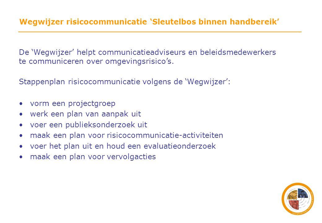 Stap 4 Schrijf een plan met daarin de volgende hoofdstukken: •inleiding/doelstellingen •relevante actoren •interne communicatie •segmentatie/omschrijving externe doelgroepen* •inhoud en boodschapformulering •keuze van middelen •evaluatieonderzoek •'tijdpad •in de markt zetten/zenderprofilering •borging van de communicatie *Deel de burgers in hoe betrokken ze zijn bij omgevingsrisico's; met de resultaten van het publieksonderzoek kunt u deze doelgroepen concreet met 'personen' of 'groepen personen invullen'.