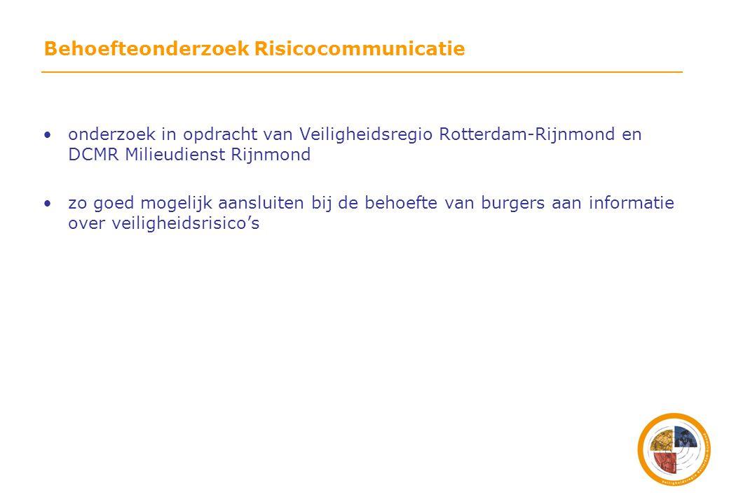 Behoefteonderzoek Risicocommunicatie •onderzoek in opdracht van Veiligheidsregio Rotterdam-Rijnmond en DCMR Milieudienst Rijnmond •zo goed mogelijk aansluiten bij de behoefte van burgers aan informatie over veiligheidsrisico's