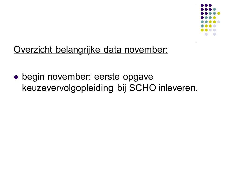 Overzicht belangrijke data november:  begin november: eerste opgave keuzevervolgopleiding bij SCHO inleveren.