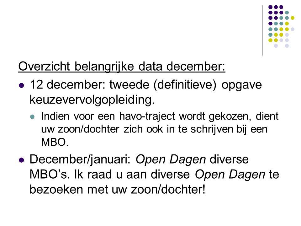 Overzicht belangrijke data december:  12 december: tweede (definitieve) opgave keuzevervolgopleiding.