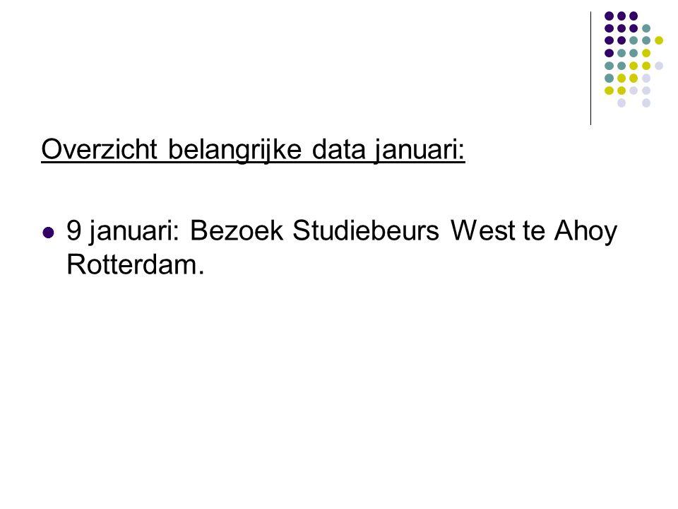 Overzicht belangrijke data januari:  9 januari: Bezoek Studiebeurs West te Ahoy Rotterdam.