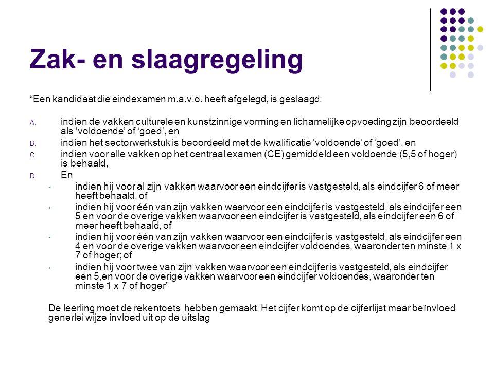 Zak- en slaagregeling Een kandidaat die eindexamen m.a.v.o.