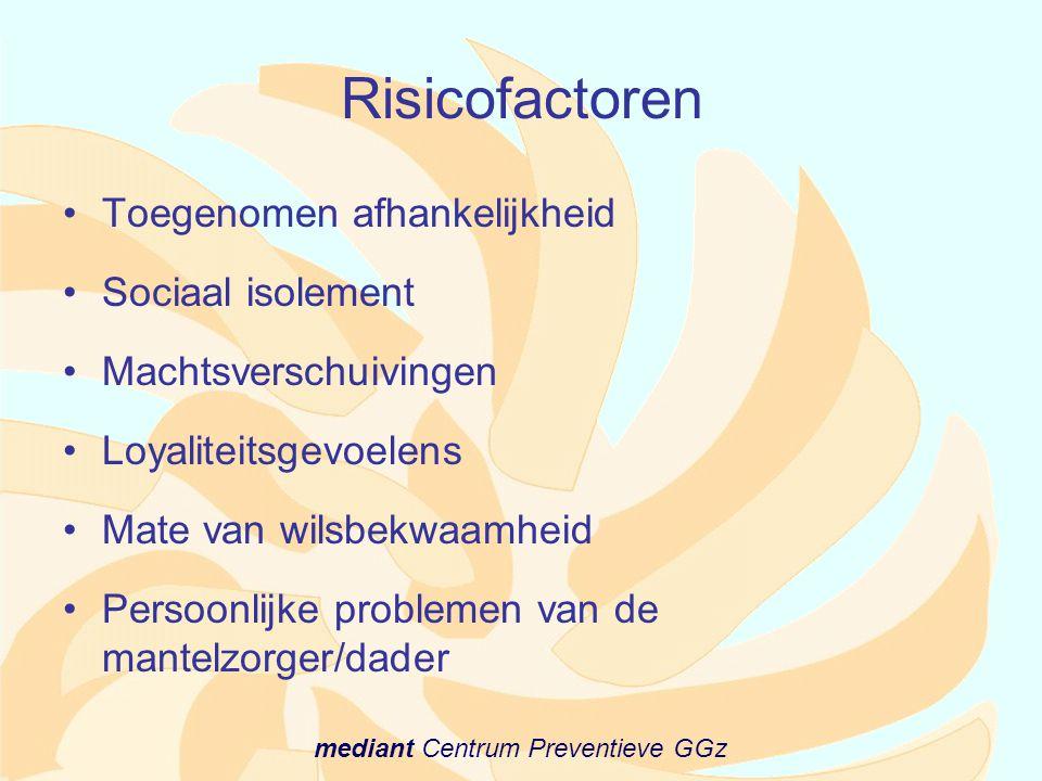 mediant Centrum Preventieve GGz Risicofactoren •Toegenomen afhankelijkheid •Sociaal isolement •Machtsverschuivingen •Loyaliteitsgevoelens •Mate van wi