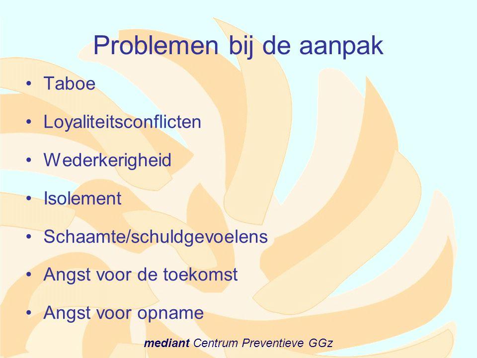 mediant Centrum Preventieve GGz Problemen bij de aanpak •Taboe •Loyaliteitsconflicten •Wederkerigheid •Isolement •Schaamte/schuldgevoelens •Angst voor