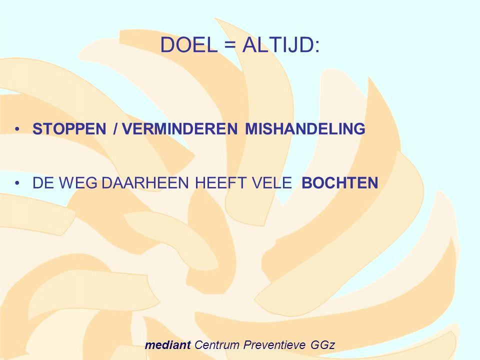 mediant Centrum Preventieve GGz DOEL = ALTIJD: •STOPPEN / VERMINDEREN MISHANDELING •DE WEG DAARHEEN HEEFT VELE BOCHTEN
