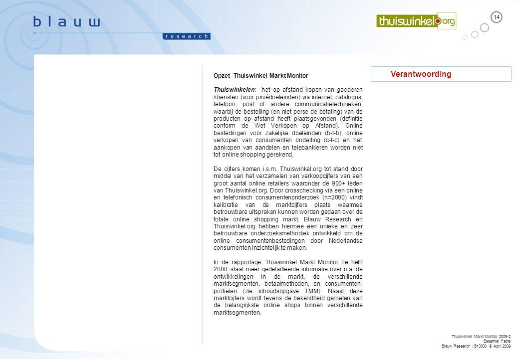 14 Thuiswinkel Markt Monitor 2009-2 Essential Facts Blauw Research / B10000  April 2009 Verantwoording Opzet Thuiswinkel Markt Monitor Thuiswinkelen: