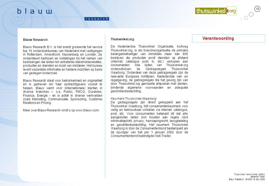 15 Thuiswinkel Markt Monitor 2009-2 Essential Facts Blauw Research / B10000  April 2009 Verantwoording Thuiswinkel.org De Nederlandse Thuiswinkel Org