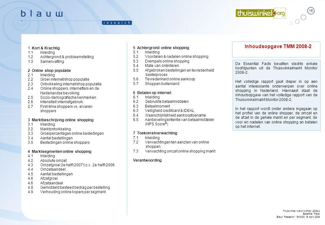 16 Thuiswinkel Markt Monitor 2009-2 Essential Facts Blauw Research / B10000  April 2009 Inhoudsopgave TMM 2008-2 1 Kort & Krachtig 1.1 Inleiding 1.2