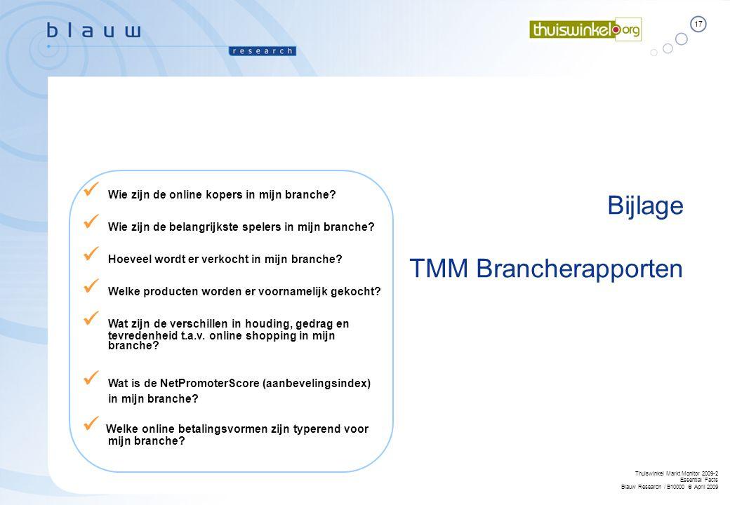 17 Thuiswinkel Markt Monitor 2009-2 Essential Facts Blauw Research / B10000  April 2009 Bijlage TMM Brancherapporten  Wie zijn de online kopers in m