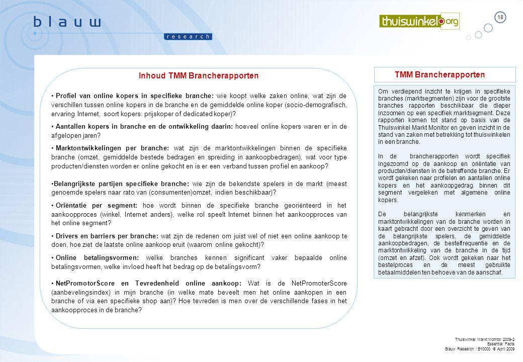 18 Thuiswinkel Markt Monitor 2009-2 Essential Facts Blauw Research / B10000  April 2009 Om verdiepend inzicht te krijgen in specifieke branches (mark