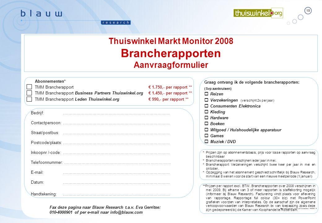 19 Thuiswinkel Markt Monitor 2009-2 Essential Facts Blauw Research / B10000  April 2009 **Prijzen per rapport excl. BTW. Brancherapporten over 2008 v