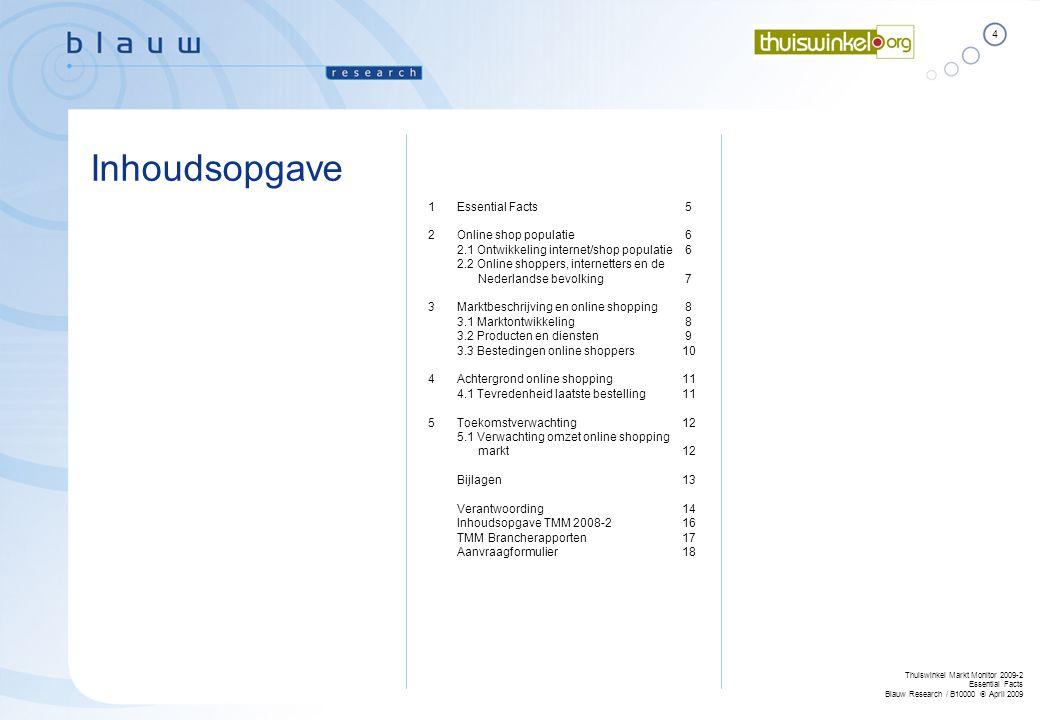 4 Thuiswinkel Markt Monitor 2009-2 Essential Facts Blauw Research / B10000  April 2009 Inhoudsopgave 1Essential Facts 5 2Online shop populatie 6 2.1