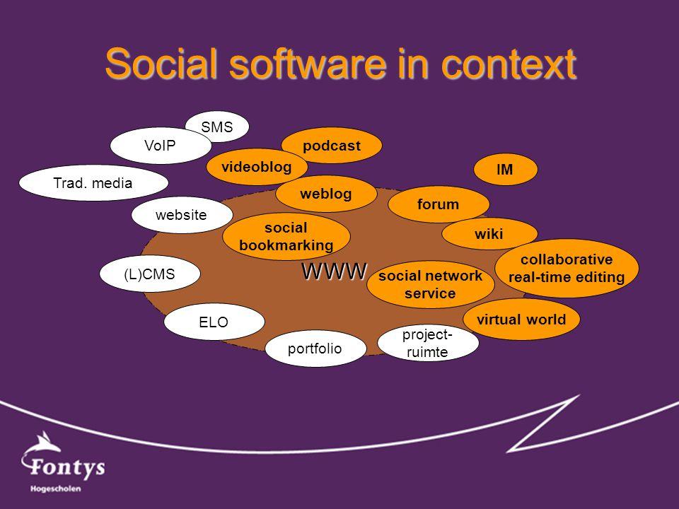 Social software in context WWW website forum weblog wiki IM SMS project- ruimte portfolio ELO (L)CMS Trad. media virtual world collaborative real-time