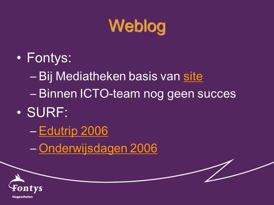 RSS •Fontys: –Nog niet in Fontys portal –Via Sharepoint Portal 2007 .