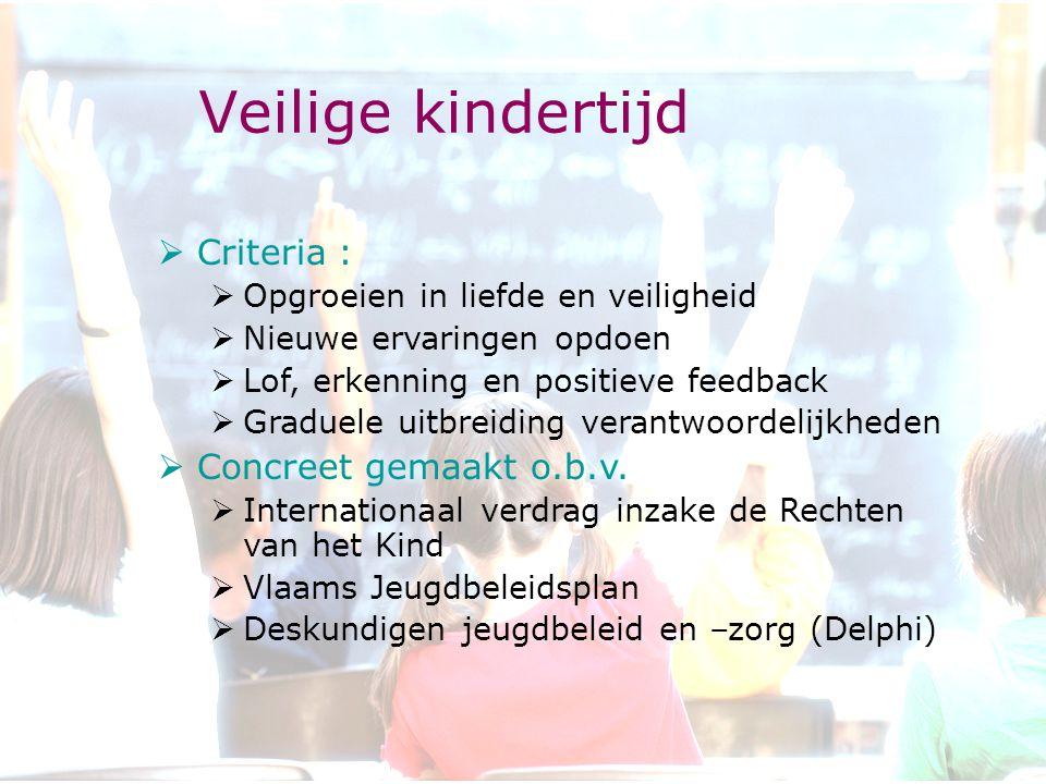Veilige kindertijd  Criteria :  Opgroeien in liefde en veiligheid  Nieuwe ervaringen opdoen  Lof, erkenning en positieve feedback  Graduele uitbreiding verantwoordelijkheden  Concreet gemaakt o.b.v.