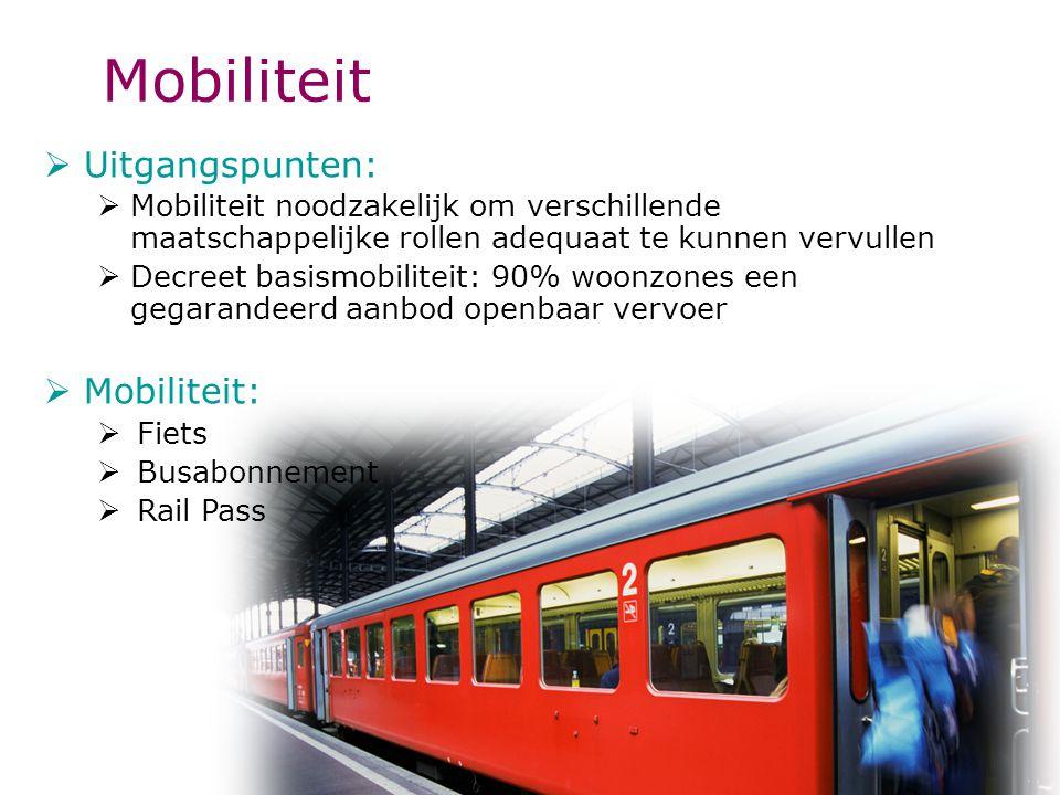 Mobiliteit  Uitgangspunten:  Mobiliteit noodzakelijk om verschillende maatschappelijke rollen adequaat te kunnen vervullen  Decreet basismobiliteit: 90% woonzones een gegarandeerd aanbod openbaar vervoer  Mobiliteit:  Fiets  Busabonnement  Rail Pass