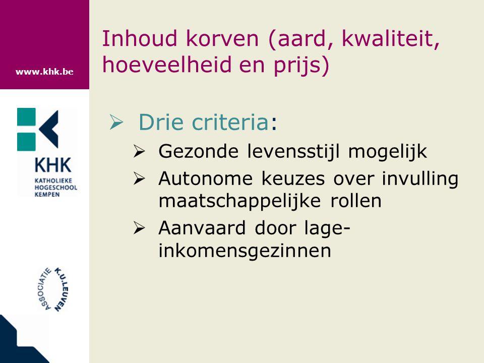 www.khk.be Inhoud korven (aard, kwaliteit, hoeveelheid en prijs)  Drie criteria:  Gezonde levensstijl mogelijk  Autonome keuzes over invulling maatschappelijke rollen  Aanvaard door lage- inkomensgezinnen