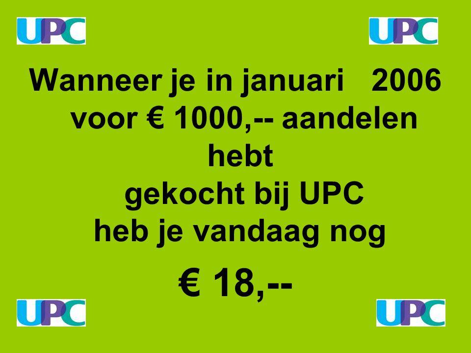 Wanneer je in januari 2006 voor € 1000,-- aandelen hebt gekocht bij UPC heb je vandaag nog € 18,--