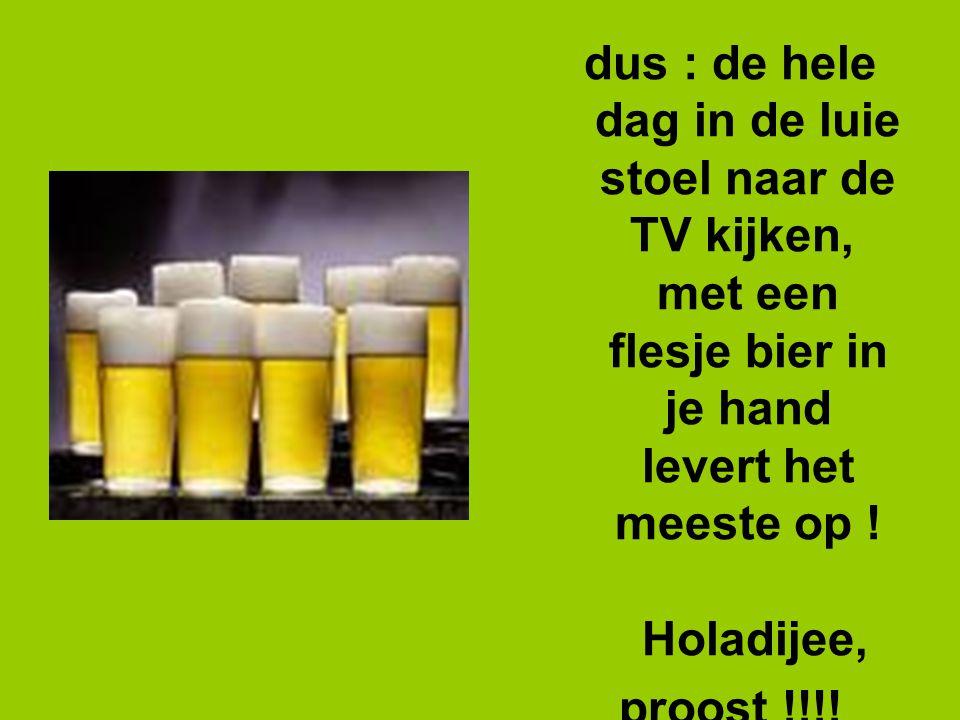dus : de hele dag in de luie stoel naar de TV kijken, met een flesje bier in je hand levert het meeste op .