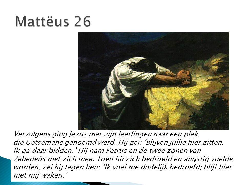 Vervolgens ging Jezus met zijn leerlingen naar een plek die Getsemane genoemd werd. Hij zei: 'Blijven jullie hier zitten, ik ga daar bidden.' Hij nam