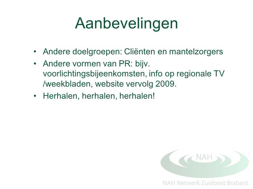 Aanbevelingen •Andere doelgroepen: Cliënten en mantelzorgers •Andere vormen van PR: bijv.