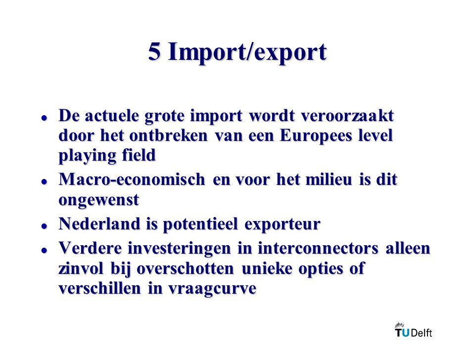 5 Import/export l De actuele grote import wordt veroorzaakt door het ontbreken van een Europees level playing field l Macro-economisch en voor het mil