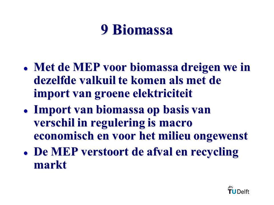 9 Biomassa l Met de MEP voor biomassa dreigen we in dezelfde valkuil te komen als met de import van groene elektriciteit l Import van biomassa op basis van verschil in regulering is macro economisch en voor het milieu ongewenst l De MEP verstoort de afval en recycling markt