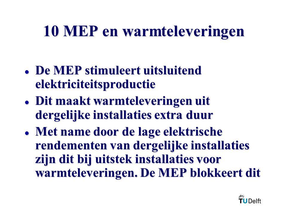 10 MEP en warmteleveringen l De MEP stimuleert uitsluitend elektriciteitsproductie l Dit maakt warmteleveringen uit dergelijke installaties extra duur l Met name door de lage elektrische rendementen van dergelijke installaties zijn dit bij uitstek installaties voor warmteleveringen.