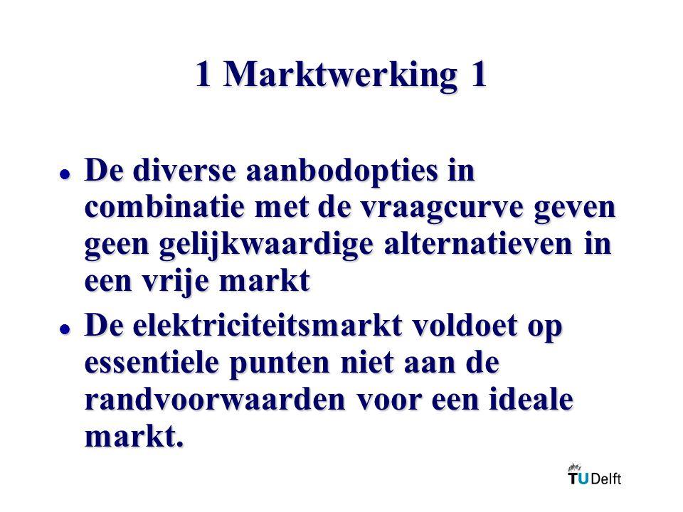 1 Marktwerking 1 l De diverse aanbodopties in combinatie met de vraagcurve geven geen gelijkwaardige alternatieven in een vrije markt l De elektriciteitsmarkt voldoet op essentiele punten niet aan de randvoorwaarden voor een ideale markt.