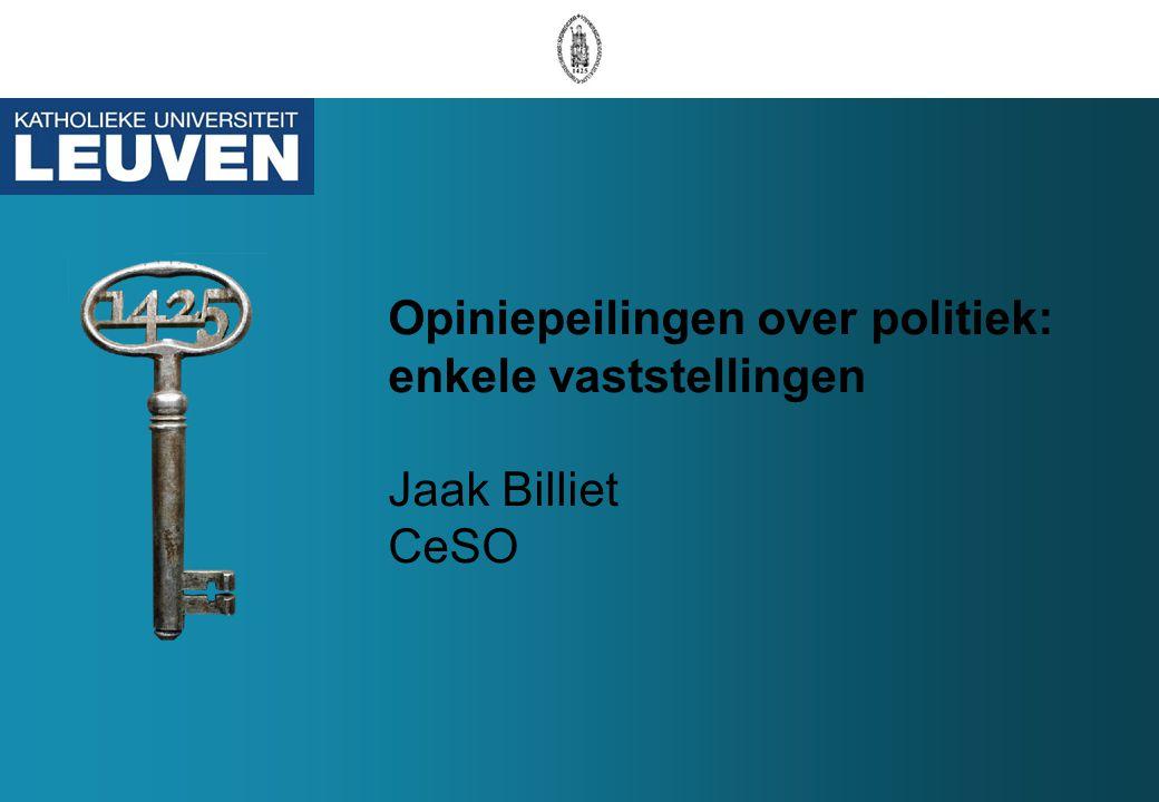 Opiniepeilingen over politiek: enkele vaststellingen Jaak Billiet CeSO